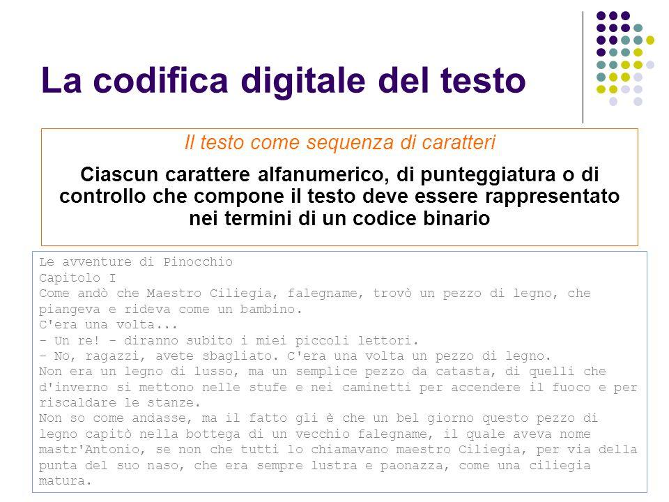 La codifica digitale del testo Le avventure di Pinocchio Capitolo I Come andò che Maestro Ciliegia, falegname, trovò un pezzo di legno, che piangeva e