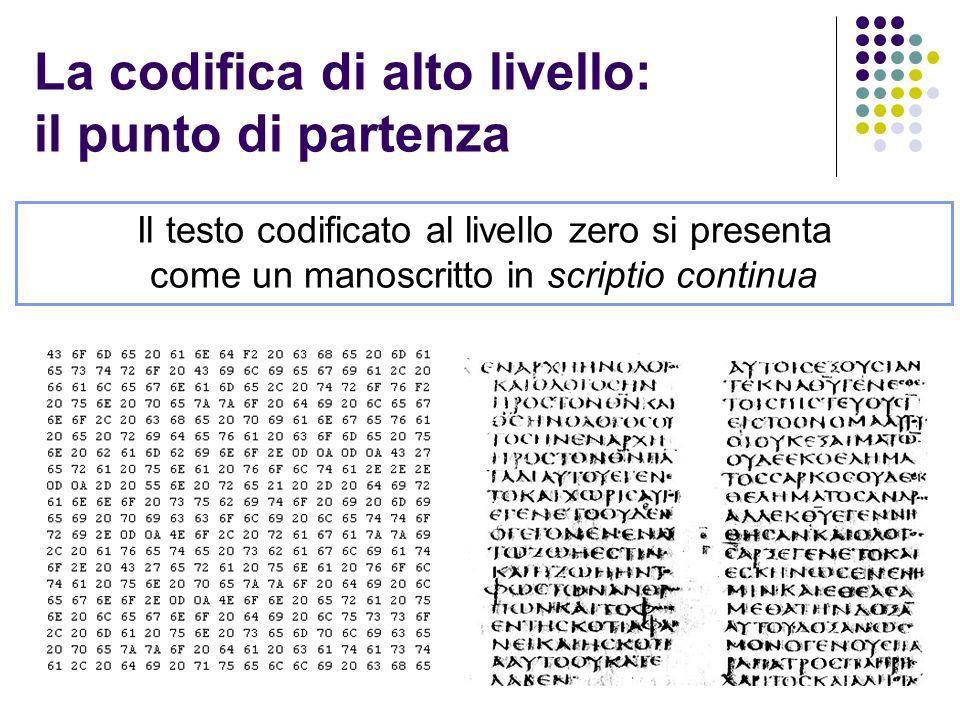 La codifica di alto livello: il punto di partenza Il testo codificato al livello zero si presenta come un manoscritto in scriptio continua