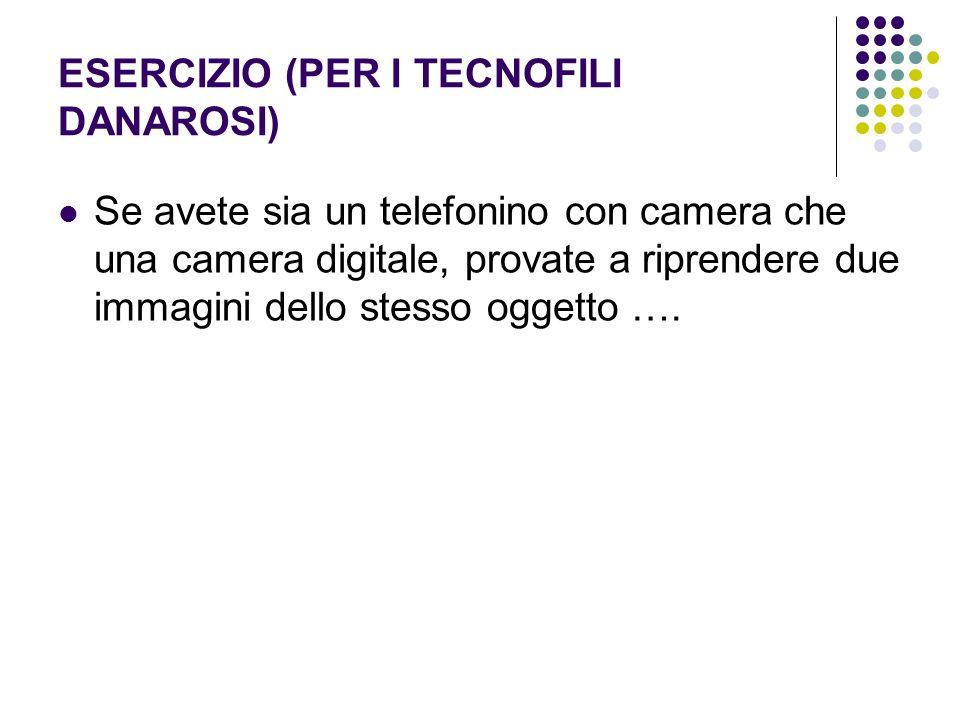 ESERCIZIO (PER I TECNOFILI DANAROSI) Se avete sia un telefonino con camera che una camera digitale, provate a riprendere due immagini dello stesso ogg