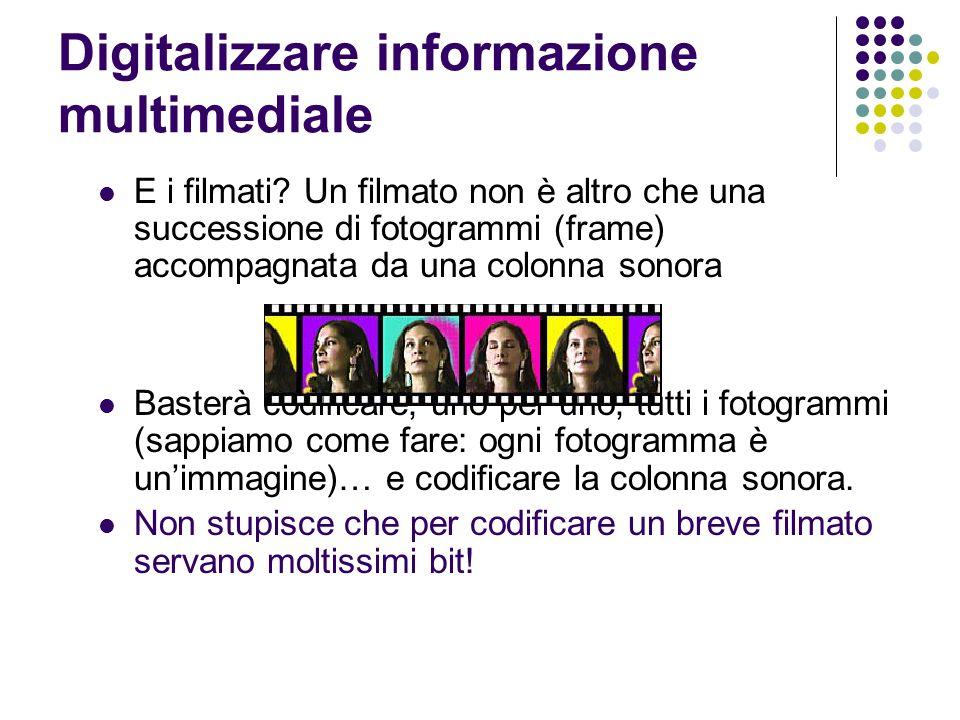 Digitalizzare informazione multimediale E i filmati? Un filmato non è altro che una successione di fotogrammi (frame) accompagnata da una colonna sono
