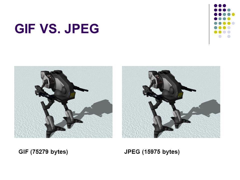 GIF VS. JPEG GIF (75279 bytes)JPEG (15975 bytes)