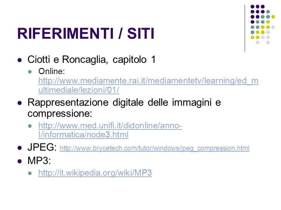 RIFERIMENTI / SITI Ciotti e Roncaglia, capitolo 1 Online: http://www.mediamente.rai.it/mediamentetv/learning/ed_m ultimediale/lezioni/01/ http://www.m