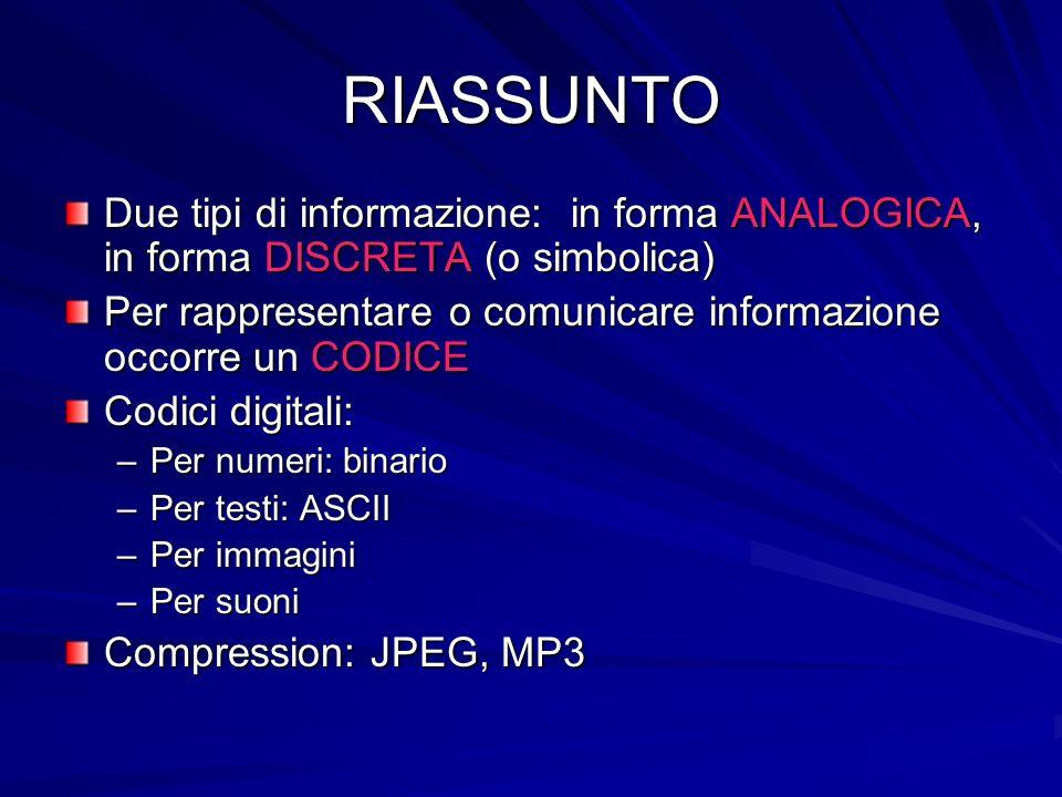 RIASSUNTO Due tipi di informazione: in forma ANALOGICA, in forma DISCRETA (o simbolica) Per rappresentare o comunicare informazione occorre un CODICE