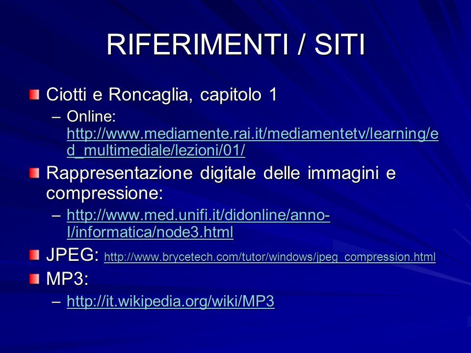 RIFERIMENTI / SITI Ciotti e Roncaglia, capitolo 1 –Online: http://www.mediamente.rai.it/mediamentetv/learning/e d_multimediale/lezioni/01/ http://www.