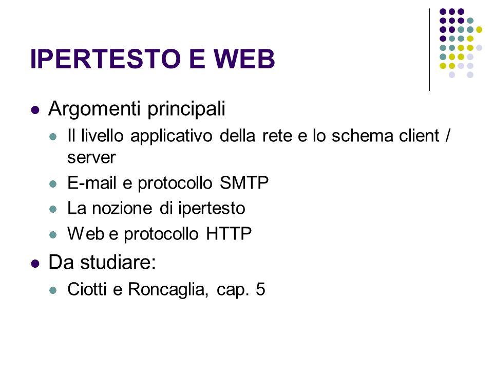 IPERTESTO E WEB Argomenti principali Il livello applicativo della rete e lo schema client / server E-mail e protocollo SMTP La nozione di ipertesto We
