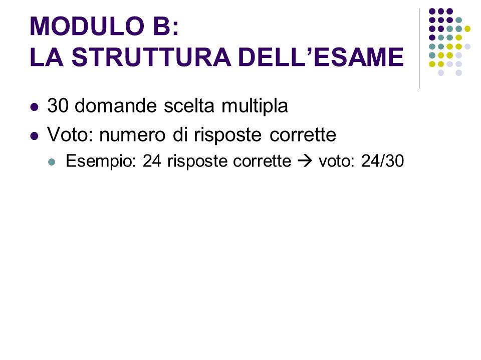 MODULO B: LA STRUTTURA DELLESAME 30 domande scelta multipla Voto: numero di risposte corrette Esempio: 24 risposte corrette voto: 24/30