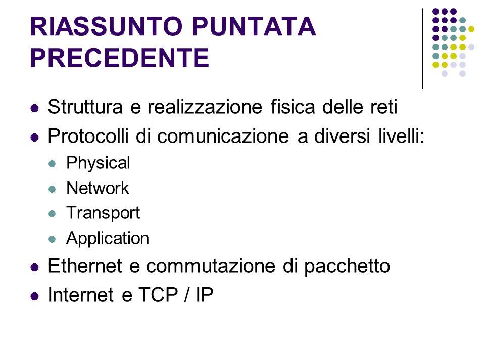 RIASSUNTO PUNTATA PRECEDENTE Struttura e realizzazione fisica delle reti Protocolli di comunicazione a diversi livelli: Physical Network Transport App