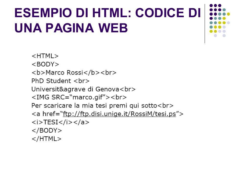 ESEMPIO DI HTML: CODICE DI UNA PAGINA WEB