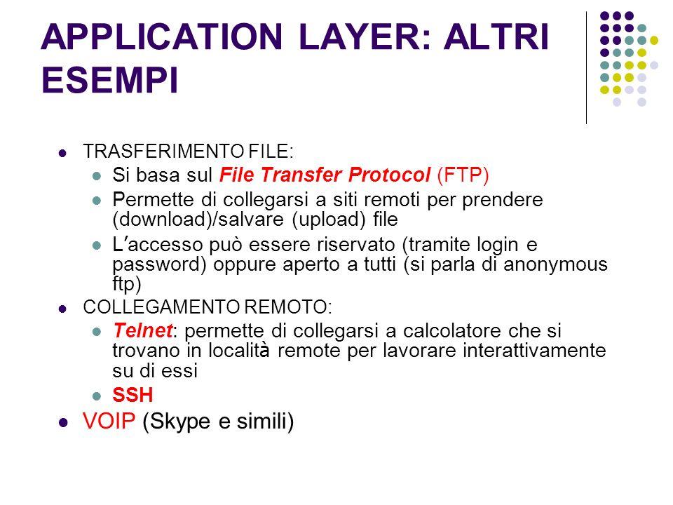 APPLICATION LAYER: ALTRI ESEMPI TRASFERIMENTO FILE: Si basa sul File Transfer Protocol (FTP) Permette di collegarsi a siti remoti per prendere (downlo