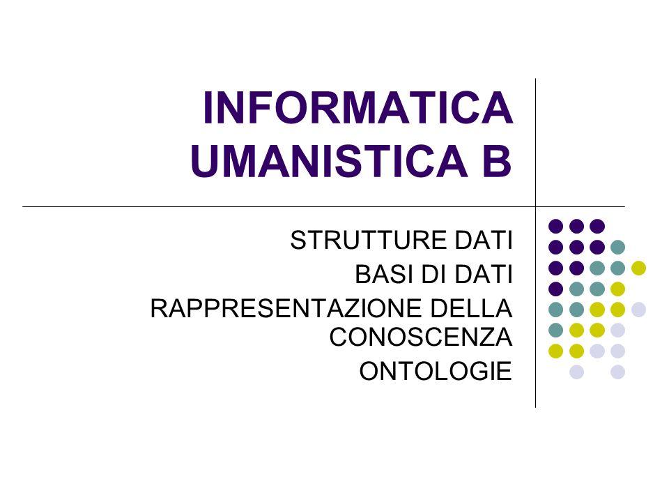 INFORMATICA UMANISTICA B STRUTTURE DATI BASI DI DATI RAPPRESENTAZIONE DELLA CONOSCENZA ONTOLOGIE