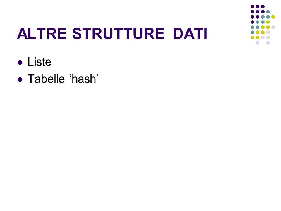 ALTRE STRUTTURE DATI Liste Tabelle hash
