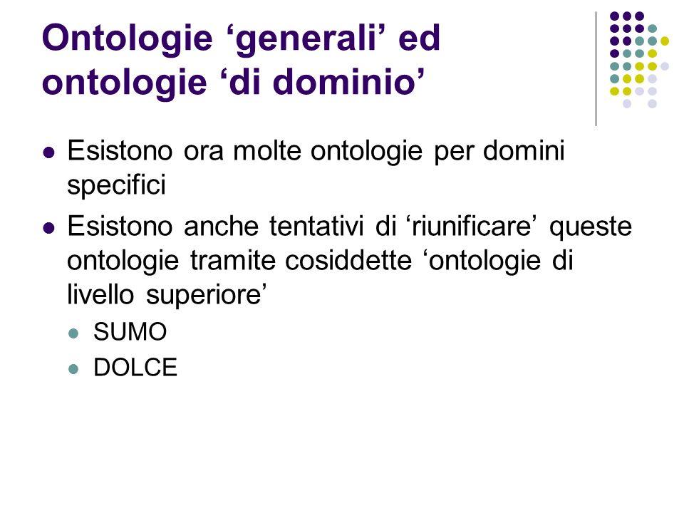 Ontologie generali ed ontologie di dominio Esistono ora molte ontologie per domini specifici Esistono anche tentativi di riunificare queste ontologie
