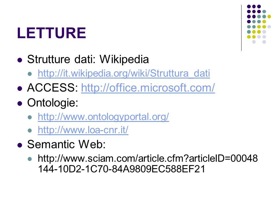 LETTURE Strutture dati: Wikipedia http://it.wikipedia.org/wiki/Struttura_dati ACCESS: http://office.microsoft.com/http://office.microsoft.com/ Ontolog
