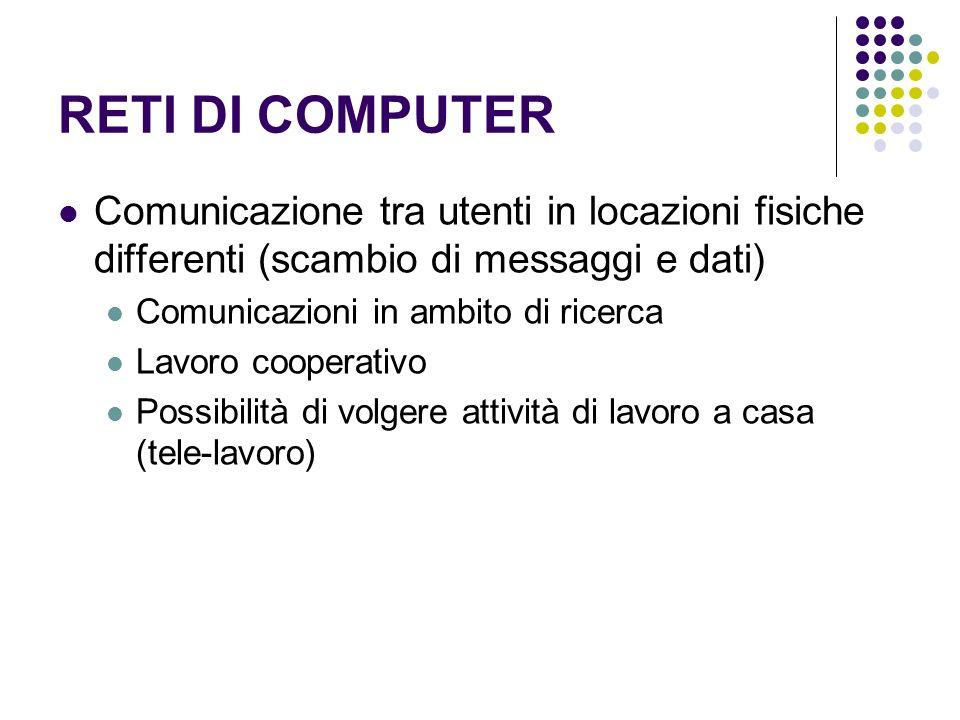 RETI DI COMPUTER Comunicazione tra utenti in locazioni fisiche differenti (scambio di messaggi e dati) Comunicazioni in ambito di ricerca Lavoro coope