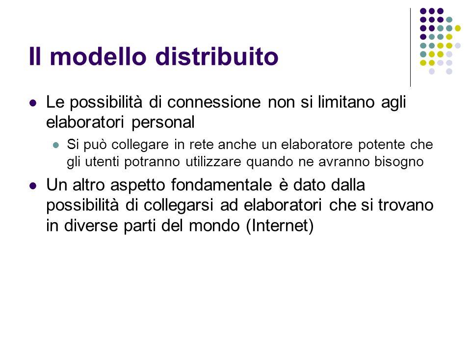 Il modello distribuito Le possibilità di connessione non si limitano agli elaboratori personal Si può collegare in rete anche un elaboratore potente c