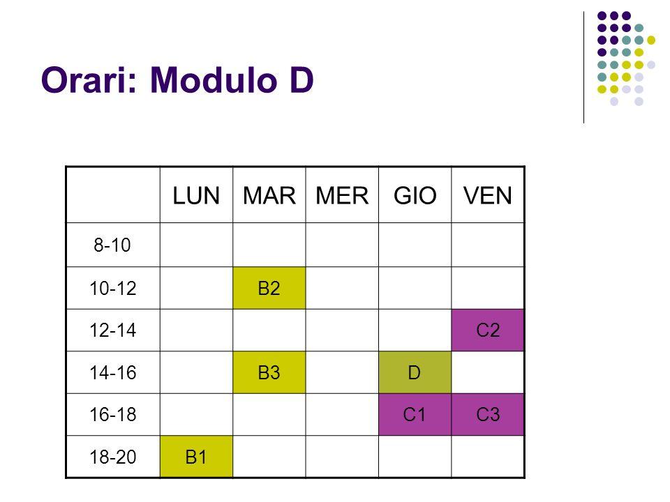 Orari: Modulo D LUNMARMERGIOVEN 8-10 10-12B2 12-14C2 14-16B3D 16-18C1C3 18-20B1
