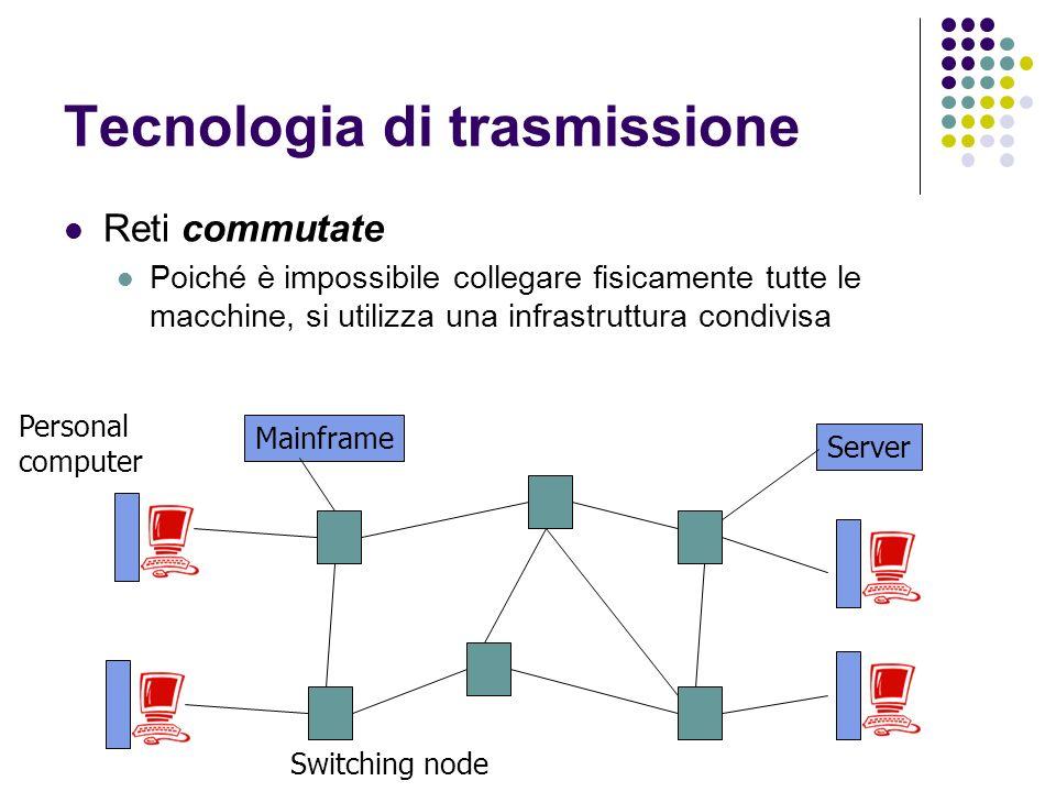 Tecnologia di trasmissione Reti commutate Poiché è impossibile collegare fisicamente tutte le macchine, si utilizza una infrastruttura condivisa Mainf