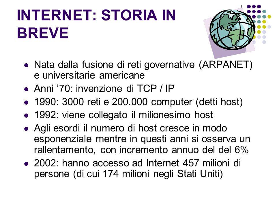 INTERNET: STORIA IN BREVE Nata dalla fusione di reti governative (ARPANET) e universitarie americane Anni 70: invenzione di TCP / IP 1990: 3000 reti e