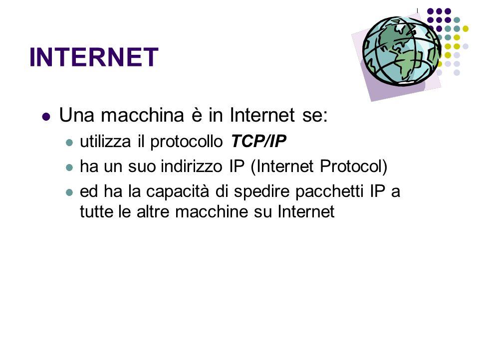 INTERNET Una macchina è in Internet se: utilizza il protocollo TCP/IP ha un suo indirizzo IP (Internet Protocol) ed ha la capacità di spedire pacchett