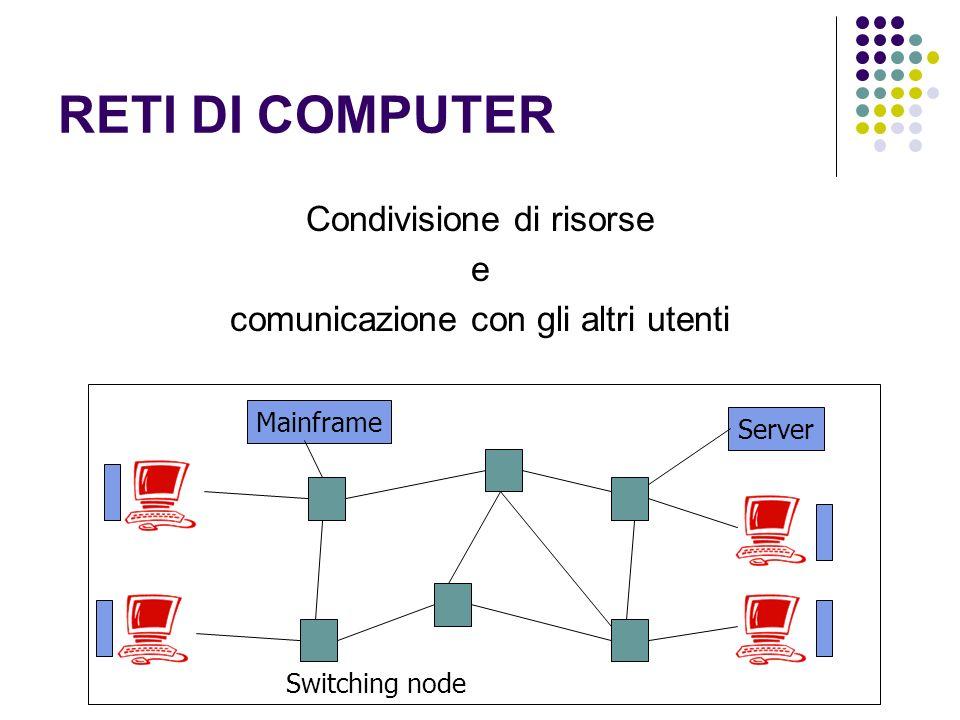 RETI DI COMPUTER Condivisione di risorse e comunicazione con gli altri utenti Mainframe Server Switching node