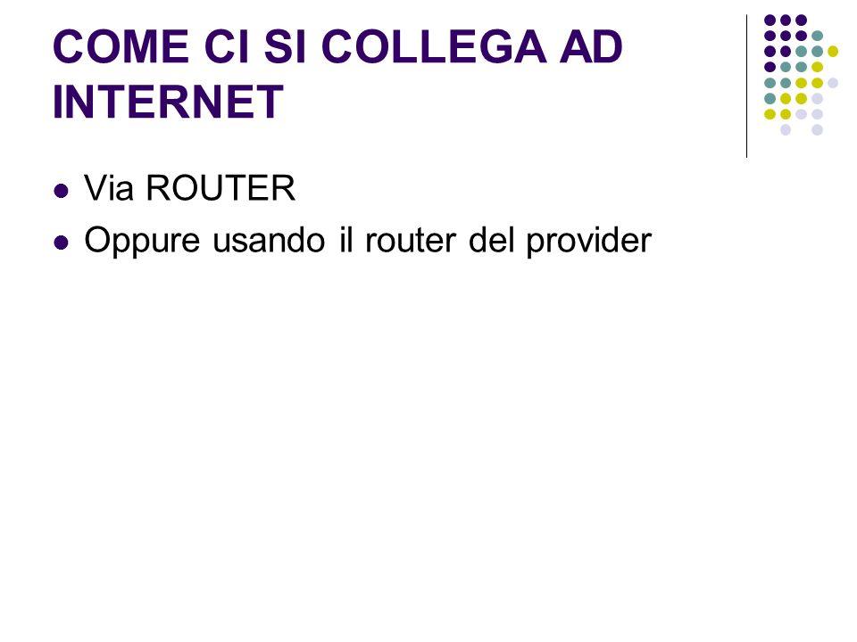 COME CI SI COLLEGA AD INTERNET Via ROUTER Oppure usando il router del provider