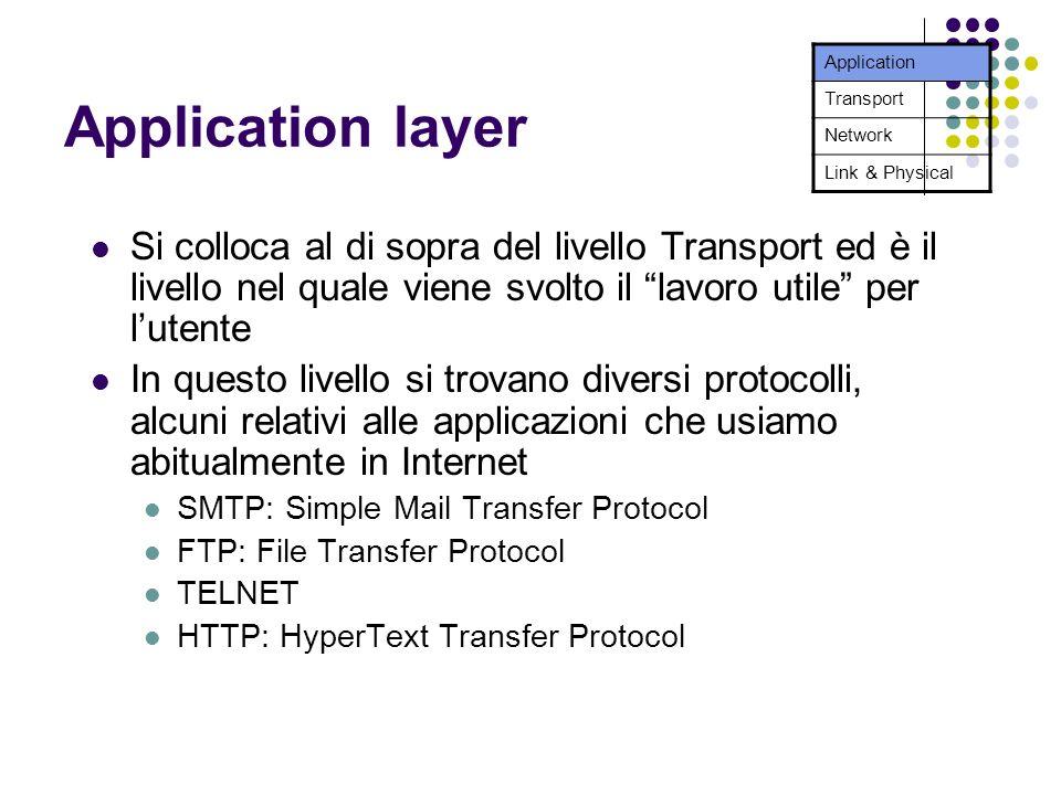 Application layer Si colloca al di sopra del livello Transport ed è il livello nel quale viene svolto il lavoro utile per lutente In questo livello si