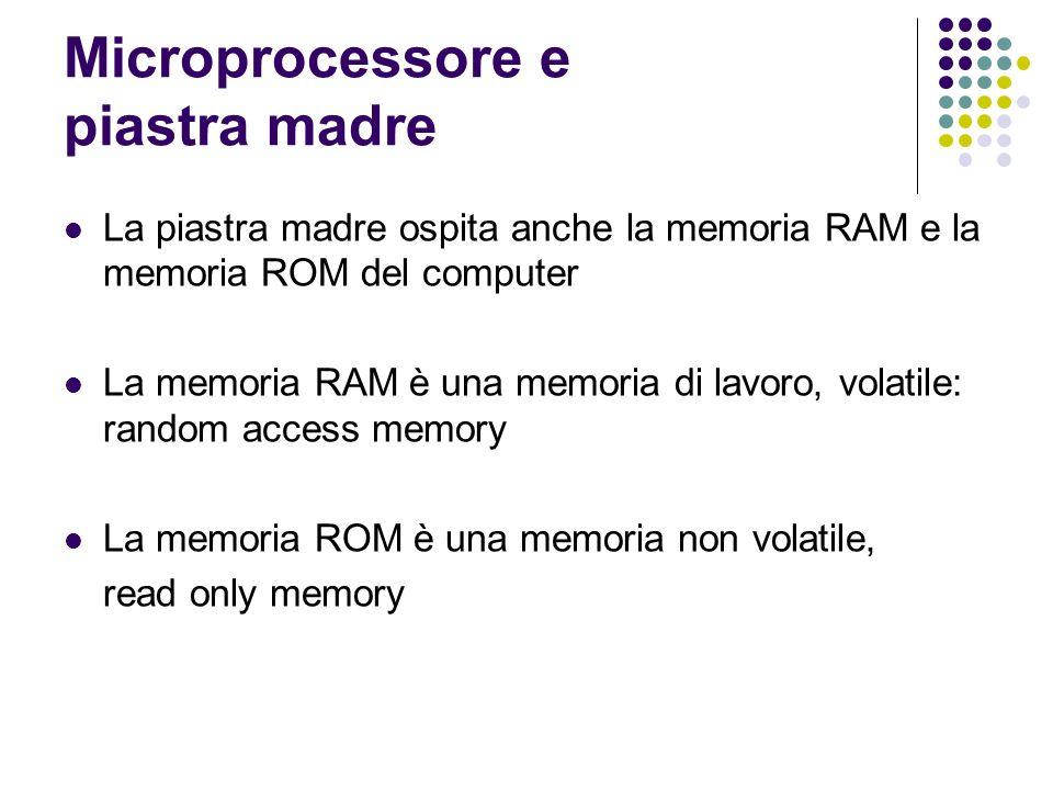 Microprocessore e piastra madre La piastra madre ospita anche la memoria RAM e la memoria ROM del computer La memoria RAM è una memoria di lavoro, volatile: random access memory La memoria ROM è una memoria non volatile, read only memory