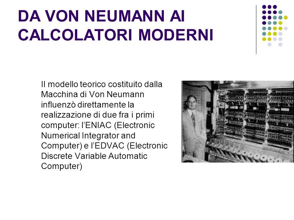 DA VON NEUMANN AI CALCOLATORI MODERNI Il modello teorico costituito dalla Macchina di Von Neumann influenzò direttamente la realizzazione di due fra i primi computer: lENIAC (Electronic Numerical Integrator and Computer) e lEDVAC (Electronic Discrete Variable Automatic Computer)