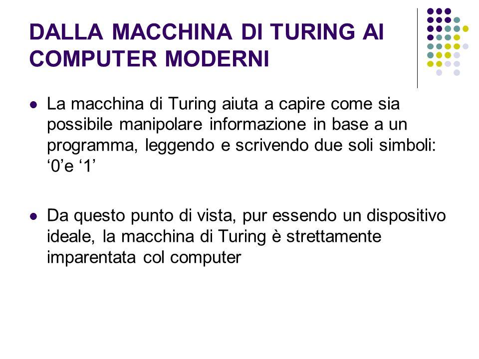 DALLA MACCHINA DI TURING AI COMPUTER MODERNI La macchina di Turing aiuta a capire come sia possibile manipolare informazione in base a un programma, leggendo e scrivendo due soli simboli: 0e 1 Da questo punto di vista, pur essendo un dispositivo ideale, la macchina di Turing è strettamente imparentata col computer