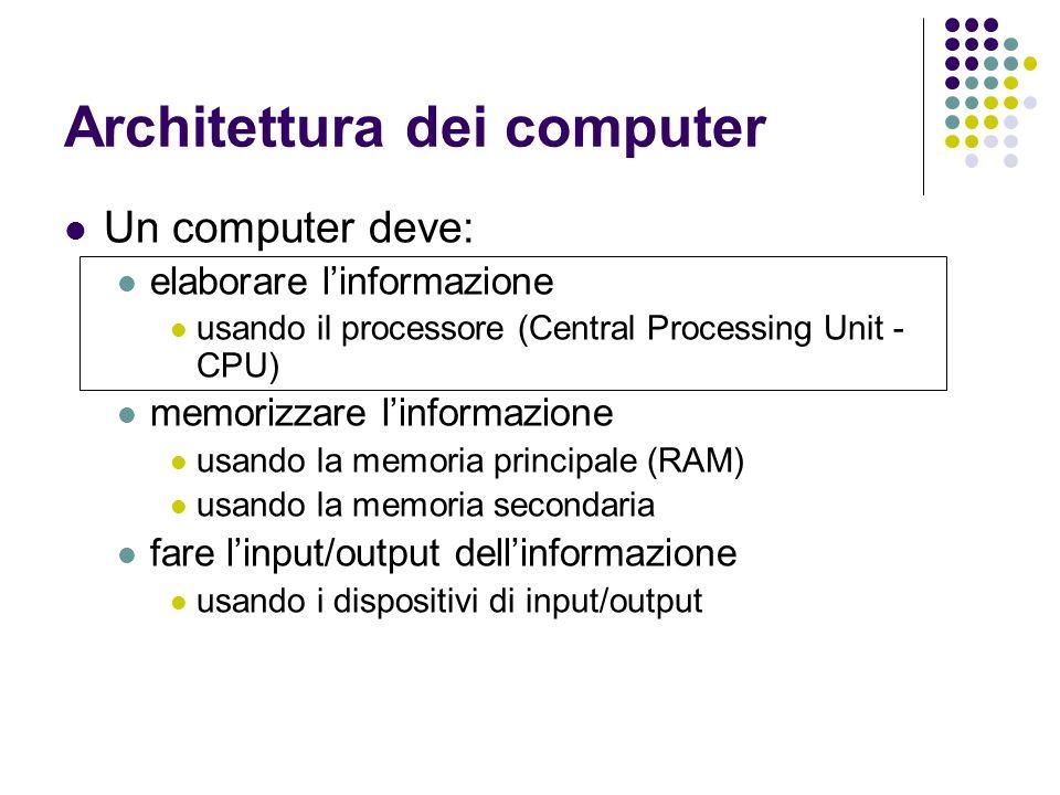Architettura dei computer Un computer deve: elaborare linformazione usando il processore (Central Processing Unit - CPU) memorizzare linformazione usando la memoria principale (RAM) usando la memoria secondaria fare linput/output dellinformazione usando i dispositivi di input/output