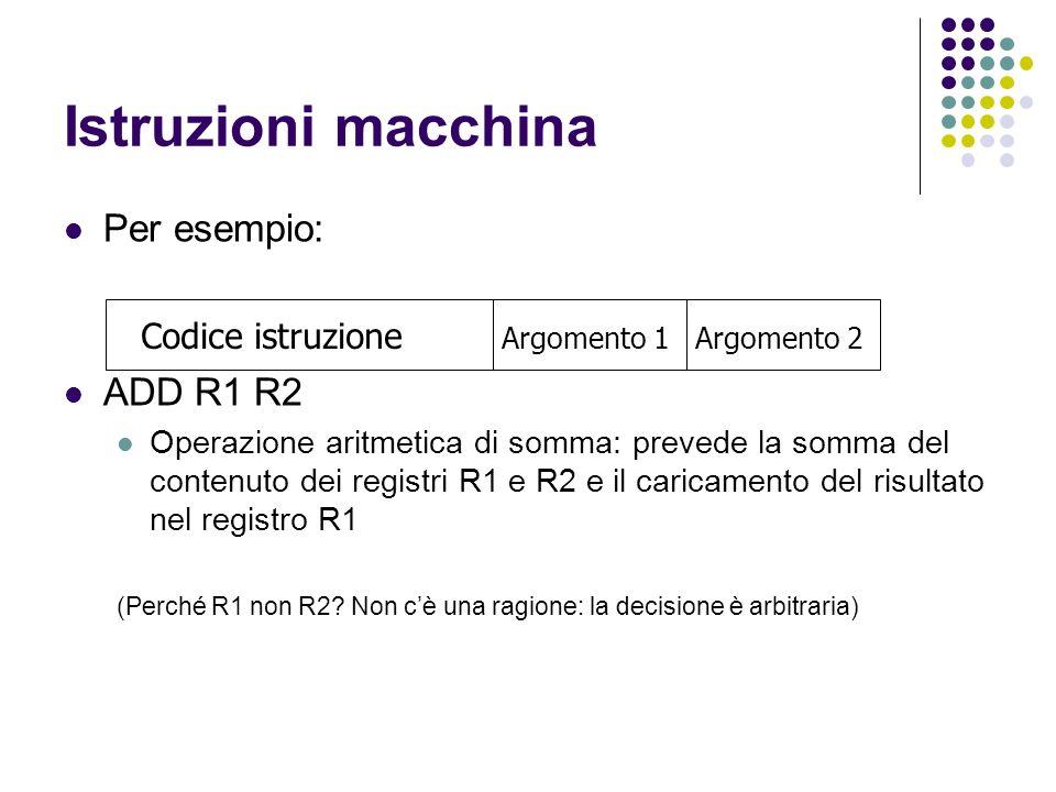 Istruzioni macchina Per esempio: ADD R1 R2 Operazione aritmetica di somma: prevede la somma del contenuto dei registri R1 e R2 e il caricamento del risultato nel registro R1 (Perché R1 non R2.