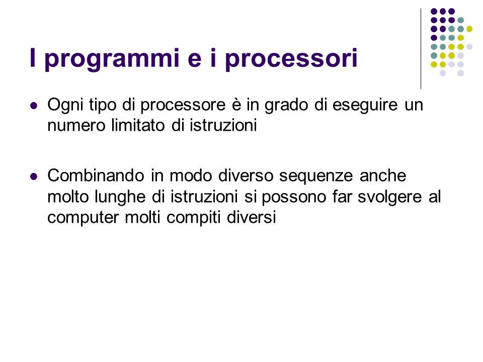 I programmi e i processori Ogni tipo di processore è in grado di eseguire un numero limitato di istruzioni Combinando in modo diverso sequenze anche molto lunghe di istruzioni si possono far svolgere al computer molti compiti diversi