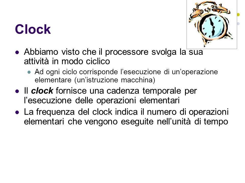 Clock Abbiamo visto che il processore svolga la sua attività in modo ciclico Ad ogni ciclo corrisponde lesecuzione di unoperazione elementare (unistruzione macchina) Il clock fornisce una cadenza temporale per lesecuzione delle operazioni elementari La frequenza del clock indica il numero di operazioni elementari che vengono eseguite nellunità di tempo