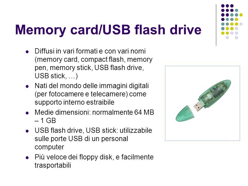Memory card/USB flash drive Diffusi in vari formati e con vari nomi (memory card, compact flash, memory pen, memory stick, USB flash drive, USB stick, …) Nati del mondo delle immagini digitali (per fotocamere e telecamere) come supporto interno estraibile Medie dimensioni: normalmente 64 MB – 1 GB USB flash drive, USB stick: utilizzabile sulle porte USB di un personal computer Più veloce dei floppy disk, e facilmente trasportabili