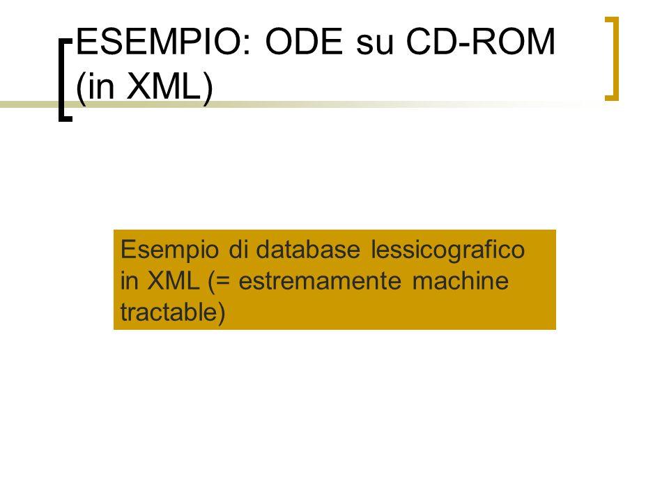 ESEMPIO: ODE su CD-ROM (in XML) Esempio di database lessicografico in XML (= estremamente machine tractable)
