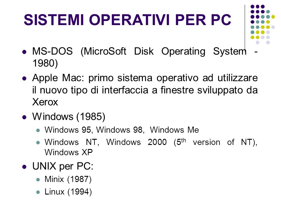 SISTEMI OPERATIVI PER PC MS-DOS (MicroSoft Disk Operating System - 1980) Apple Mac: primo sistema operativo ad utilizzare il nuovo tipo di interfaccia