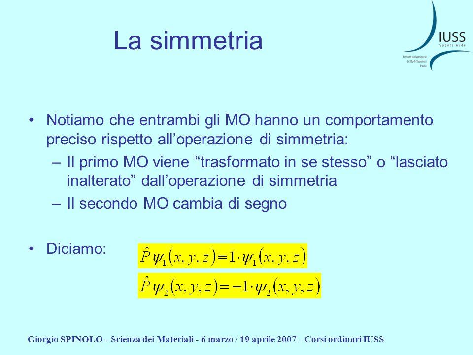 Giorgio SPINOLO – Scienza dei Materiali - 6 marzo / 19 aprile 2007 – Corsi ordinari IUSS La simmetria Notiamo che entrambi gli MO hanno un comportamen