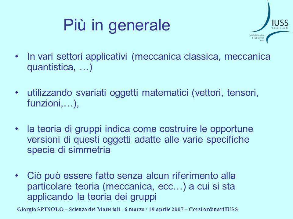 Giorgio SPINOLO – Scienza dei Materiali - 6 marzo / 19 aprile 2007 – Corsi ordinari IUSS Più in generale In vari settori applicativi (meccanica classi