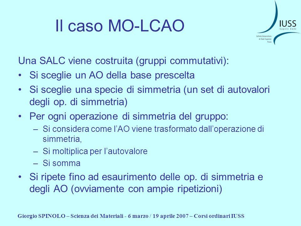 Giorgio SPINOLO – Scienza dei Materiali - 6 marzo / 19 aprile 2007 – Corsi ordinari IUSS Il caso MO-LCAO Una SALC viene costruita (gruppi commutativi)