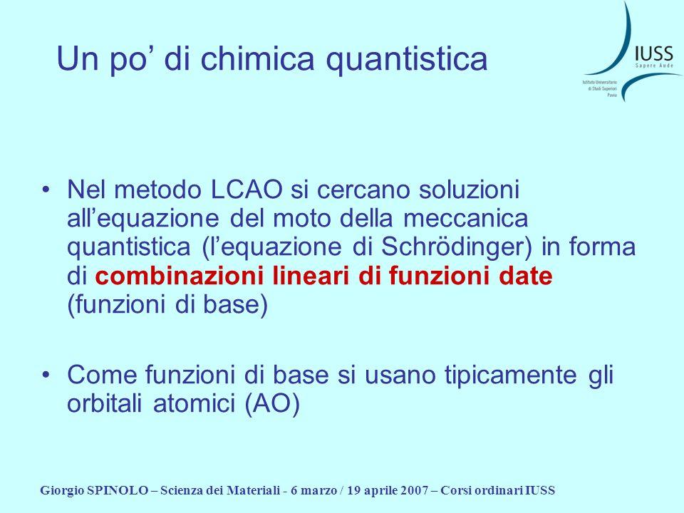 Giorgio SPINOLO – Scienza dei Materiali - 6 marzo / 19 aprile 2007 – Corsi ordinari IUSS Un po di chimica quantistica Nel metodo LCAO si cercano soluz