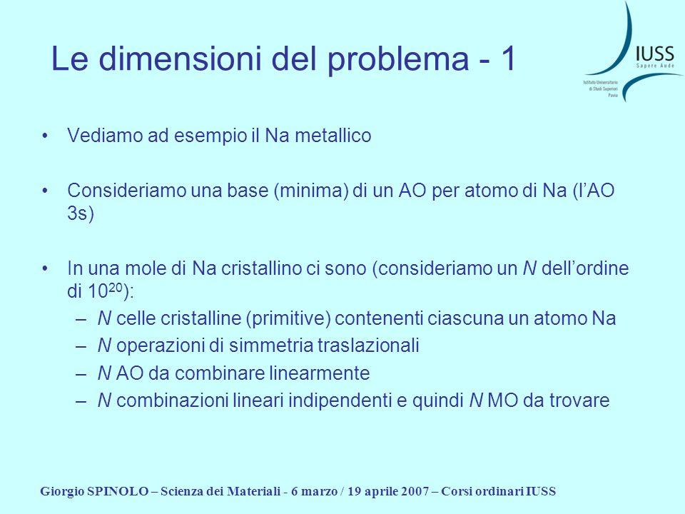 Giorgio SPINOLO – Scienza dei Materiali - 6 marzo / 19 aprile 2007 – Corsi ordinari IUSS Le dimensioni del problema - 1 Vediamo ad esempio il Na metal