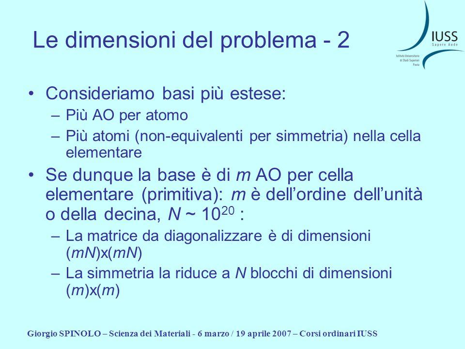 Giorgio SPINOLO – Scienza dei Materiali - 6 marzo / 19 aprile 2007 – Corsi ordinari IUSS Le dimensioni del problema - 2 Consideriamo basi più estese: