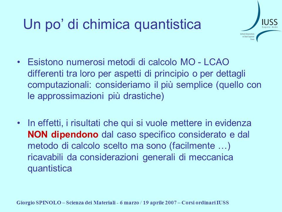 Giorgio SPINOLO – Scienza dei Materiali - 6 marzo / 19 aprile 2007 – Corsi ordinari IUSS Un po di chimica quantistica Esistono numerosi metodi di calc
