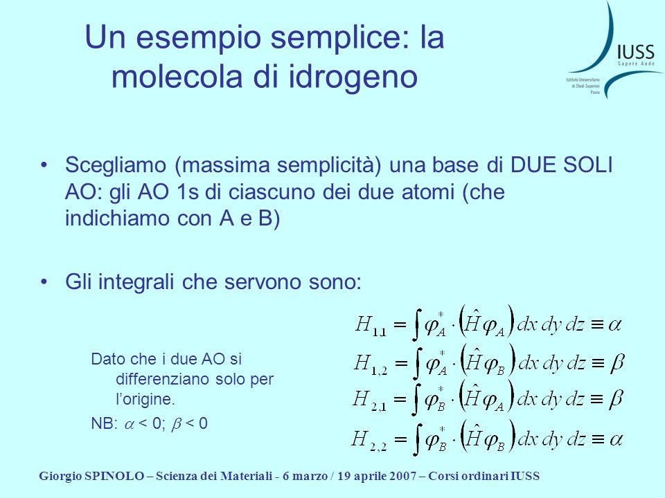 Giorgio SPINOLO – Scienza dei Materiali - 6 marzo / 19 aprile 2007 – Corsi ordinari IUSS Un esempio semplice: la molecola di idrogeno La matrice H è: Gli autovalori sono: E 1 = + E 2 = - E 1 E 2 Le autofunzioni sono: e: