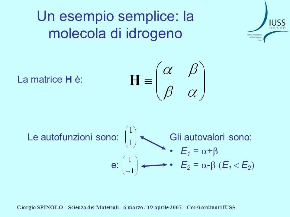 Giorgio SPINOLO – Scienza dei Materiali - 6 marzo / 19 aprile 2007 – Corsi ordinari IUSS Un esempio semplice: la molecola di idrogeno La matrice H è: