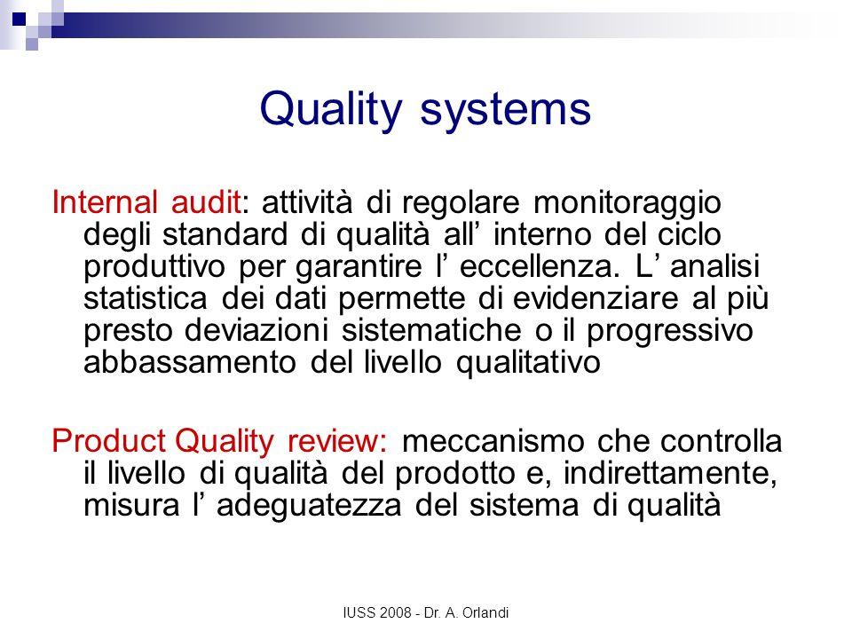 IUSS 2008 - Dr. A. Orlandi Quality systems Internal audit: attività di regolare monitoraggio degli standard di qualità all interno del ciclo produttiv
