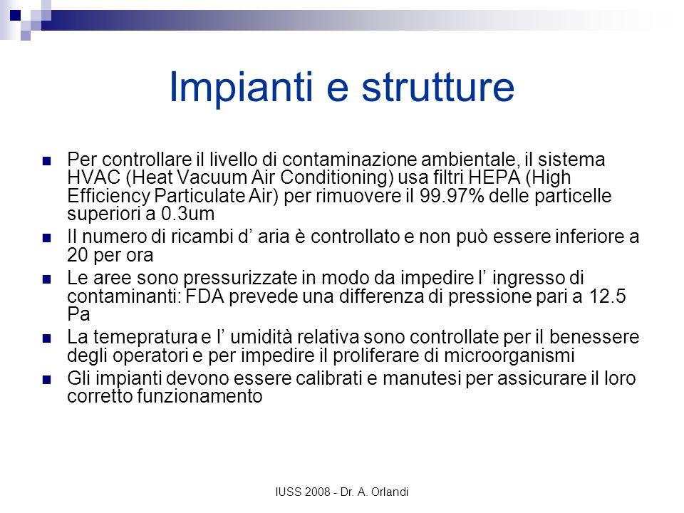 IUSS 2008 - Dr. A. Orlandi Impianti e strutture Per controllare il livello di contaminazione ambientale, il sistema HVAC (Heat Vacuum Air Conditioning