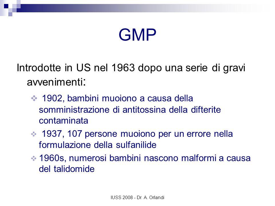 IUSS 2008 - Dr. A. Orlandi GMP Introdotte in US nel 1963 dopo una serie di gravi avvenimenti : 1902, bambini muoiono a causa della somministrazione di
