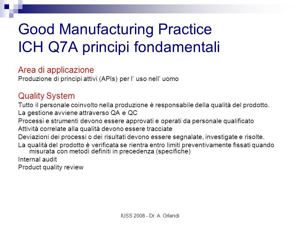 IUSS 2008 - Dr. A. Orlandi Good Manufacturing Practice ICH Q7A principi fondamentali Area di applicazione Produzione di principi attivi (APIs) per l u