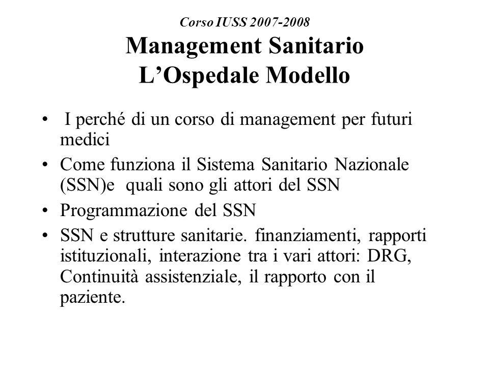 Corso IUSS 2007-2008 Management Sanitario LOspedale Modello I perché di un corso di management per futuri medici Come funziona il Sistema Sanitario Nazionale (SSN)e quali sono gli attori del SSN Programmazione del SSN SSN e strutture sanitarie.